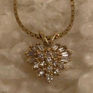14k gold necklace with heart charm & diamonds